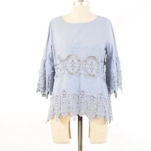 Anthropologie 11 1 Tylho blue lace trim top S